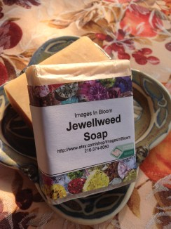 This is jewelweed soap, a light cream colored soap, gently wrapped and packaged.