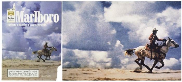 "Affiche Marlboro (photo: Sam Abell). Richard Prince, ""Untitled (Cowboy),"" 1989."