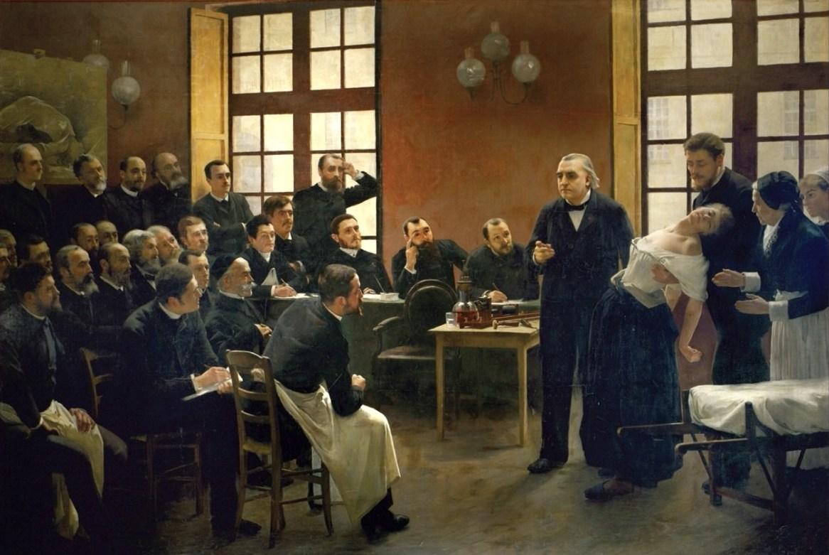 """André Brouillet, """"Une leçon clinique à la Salpêtrière"""", 1887."""