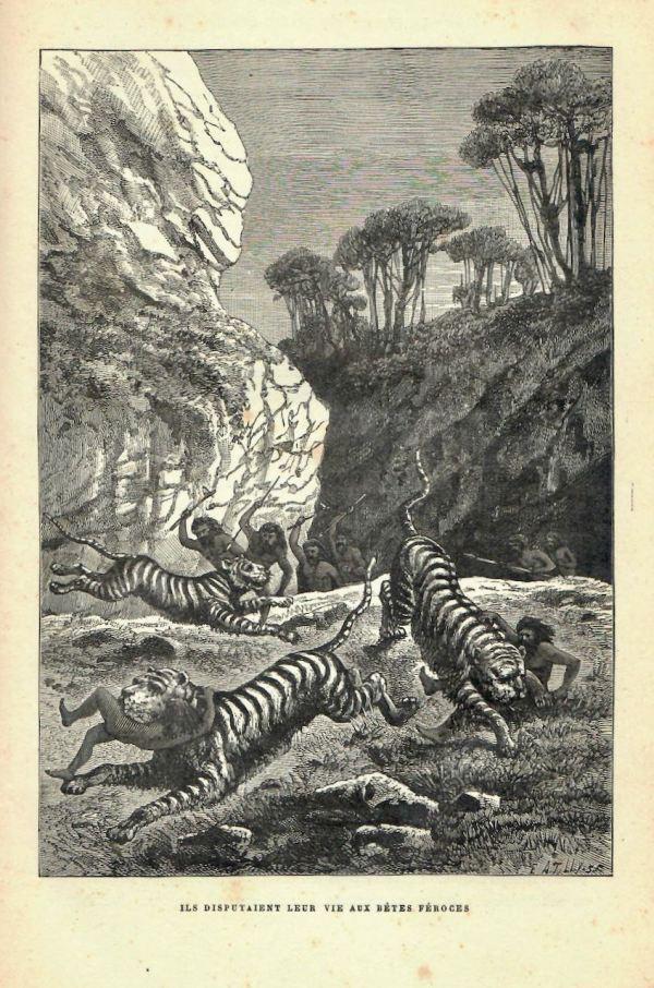 H. du Cleuziou, scène reconstituée, La Création de l'homme, 1887.