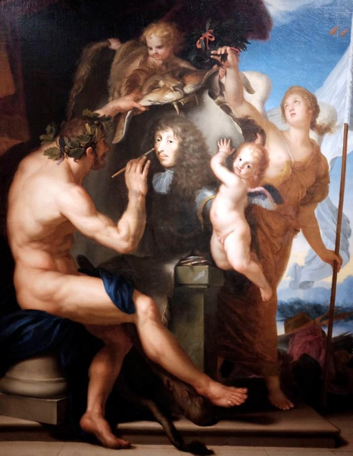 Nicolas Eude, Hercule peignant le portrait de Louis II de Bourbon, prince de Condé, au revers de la peau du lion de Némée, couronné par une victoire au sein nu (XVIIe s.).