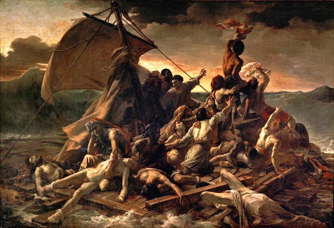 Le Radeau de la Méduse comporte plusieurs personnages noirs, dont celui qui surplombe le groupe.
