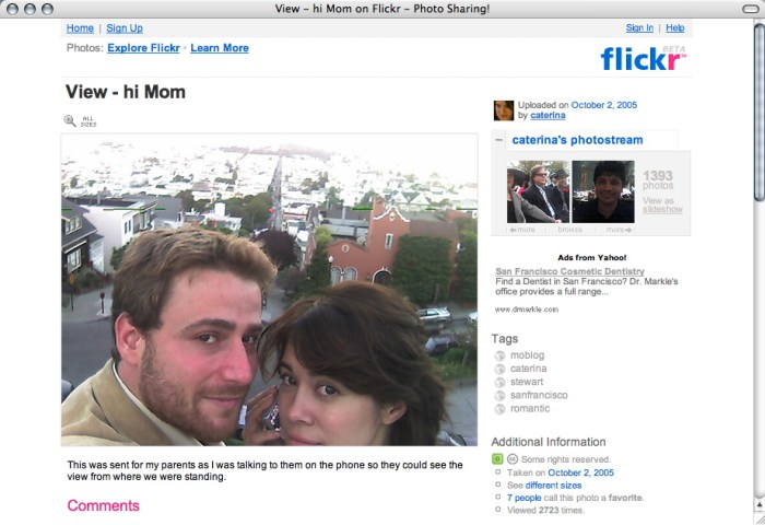 "8. ""Hi Mom"", selfie de Stewart Butterfield et Caterina Fake, cofondateurs de Flickr, octobre 2005 (licence CC)."