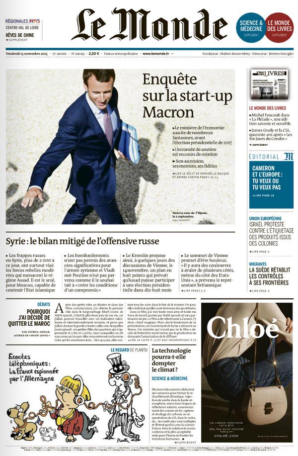 Le Monde, 13/11/2015.