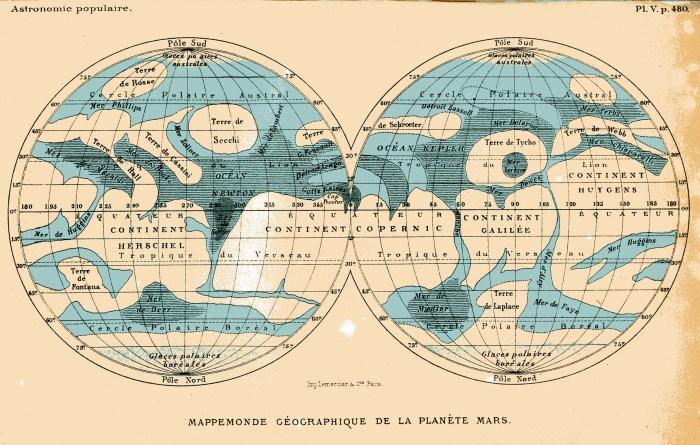 Mappemonde de Mars, d'après Proctor, Astronomie populaire, 1880.