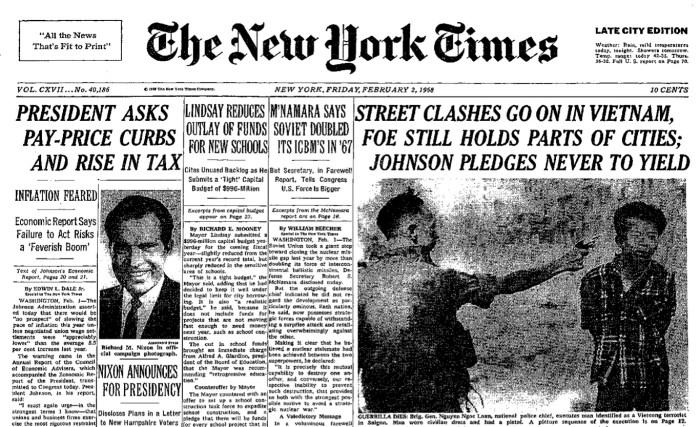 Une du New York Times du 2 février 1968.
