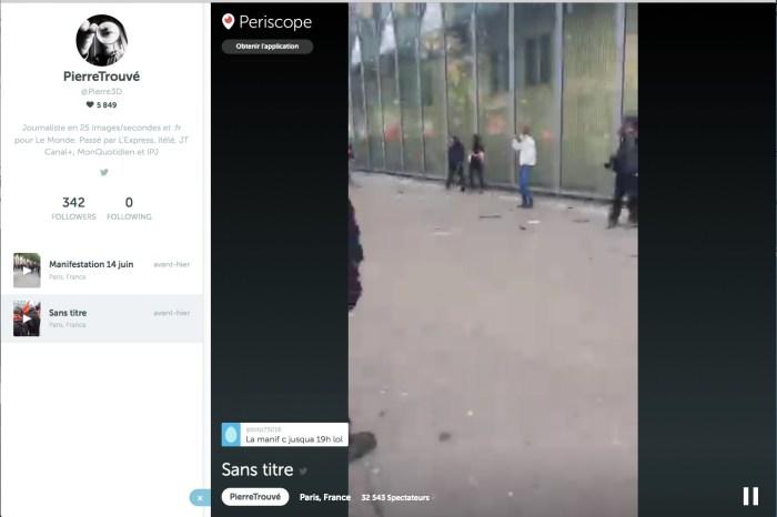 Vidéo de la manifestation du 14 juin sur Periscope (photogramme).