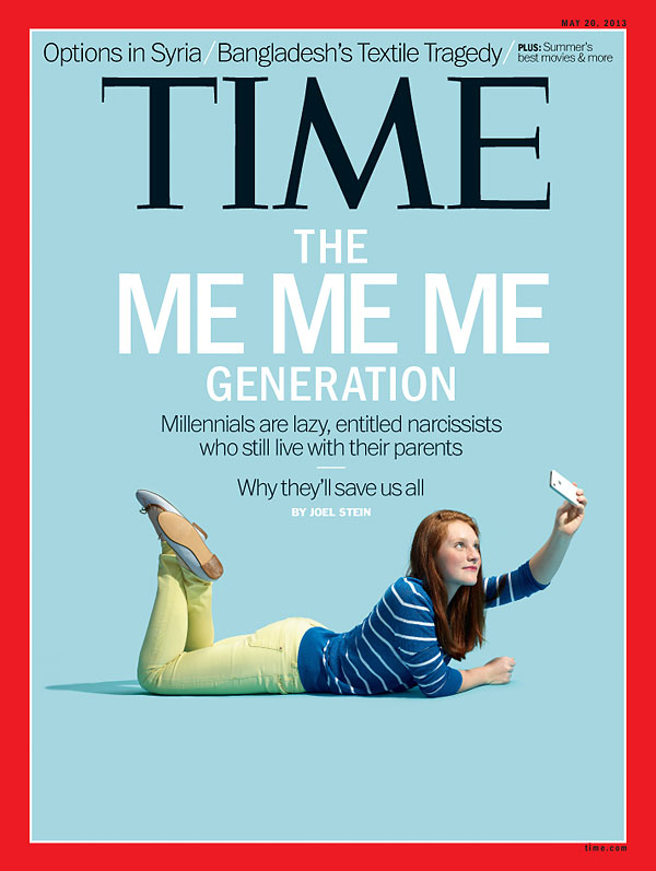 """The Me Me Me Generation"", couverture du Time du 20/05/2013."