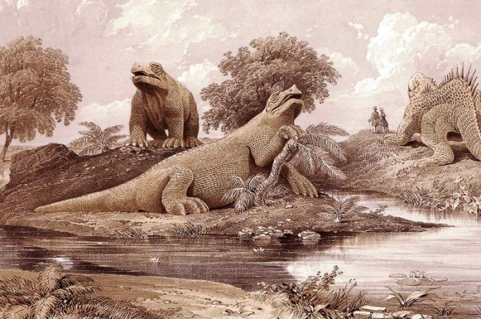 George Baxter, lithographie des dinosaures du Crystal Palace, 1854.