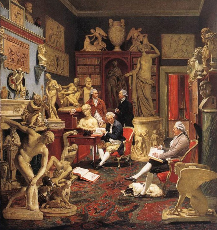 Zoffany, Charles Townley in his sculpture Gallery Gallery, 1782.