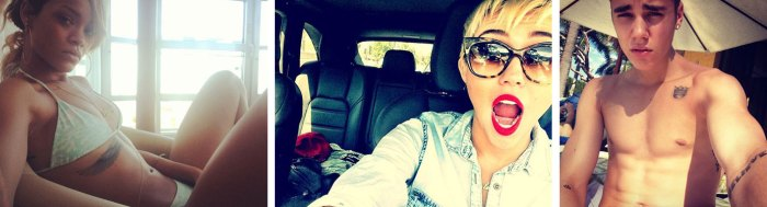 14. Selfies de Rihannah, Miley Cyrus, Justin Bieber rediffusés sur des sites people (2013).