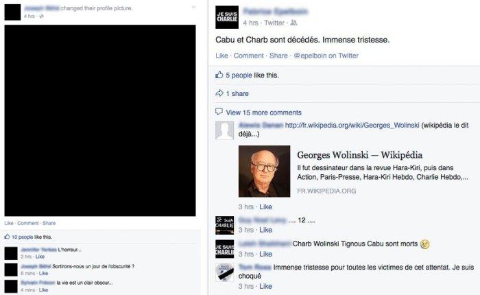 Diffusion du mème sur Facebook, copies d'écran du 7 janvier 2015.