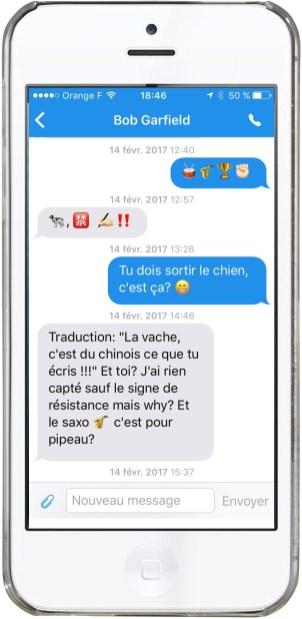 Dialogue avec émojis, messagerie, 2017.