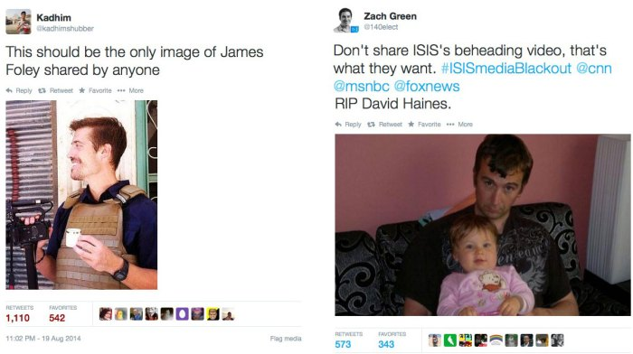 Portraits alternatifs de James Foley et David Haines diffusés sur Twitter.