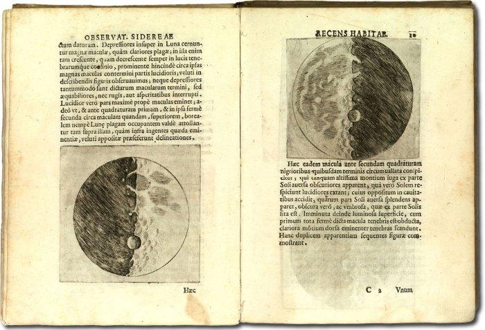 Galilée, dessins de la Lune, Sidereus Nuncius, 1610.