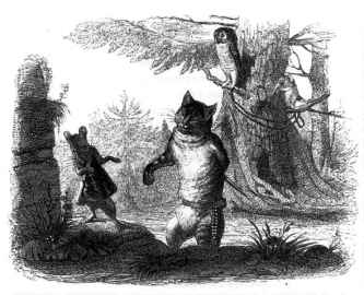 Grandville, La Fontaine, Le chat et le rat.