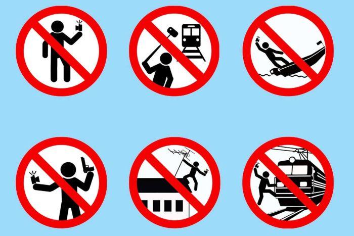 Logos de mise en garde anti-selfie, Russie, 2015.