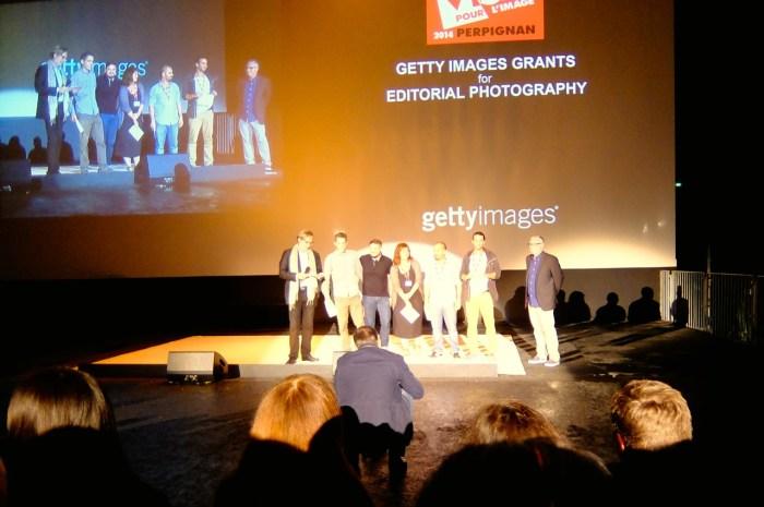 Soirée projection au festival Visa pour l'image de Perpignan, 04/09/2014 (photo AG).