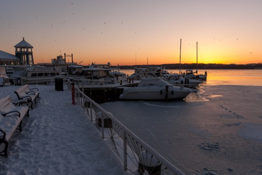 Winter Sunrise on the Pier, Alexandria Waterfront. Nikon D200, 18-70 AF-S DX @ 18mm, ISO 100, f/8, 1/40 sec