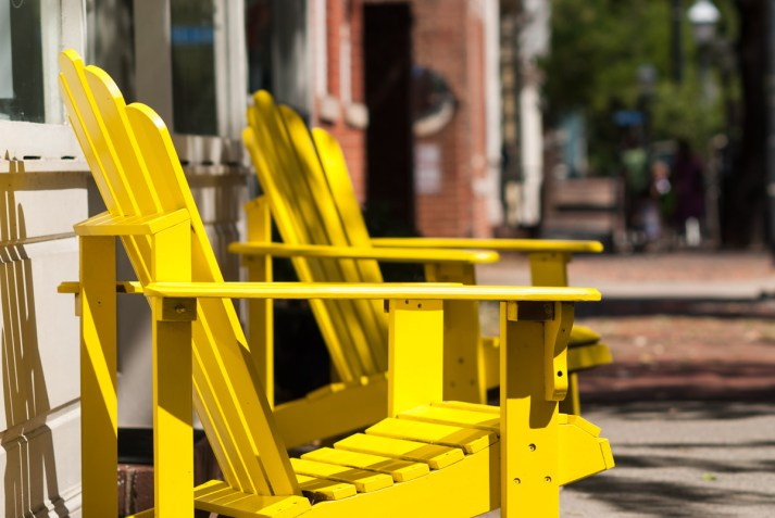 Yellow Adirondack Chairs, South Fairfax Street. Nikon D200, 105mm f/2.5 AI, ISO 100, f/4, 1/800 sec.
