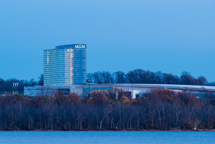 MGM National Harbor, from Alexandria Waterfront. Nikon D200, Nikkor 200mm f/4 AI, ISO 100, f/8, 1/2 sec.