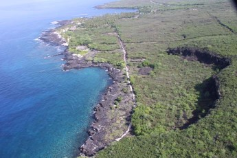 1871 Trail looking north toward the Pu'uhonua, Keanae'e Cliffs to the right