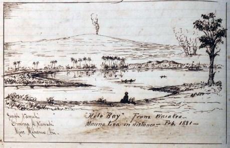 1881 lava flow approaching Hilo -illustration by Joseph Nawahi, February 21, 1881