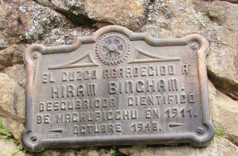 1948 Plaque-Machu Picchu