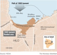 1960-Hilo-Path of tsunami map