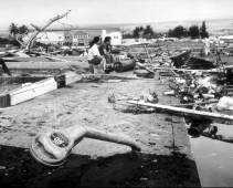1960-Hilo destruction left in the wake of tsunami generated by earthquake of May 22, 1960, off the coast of Chile.
