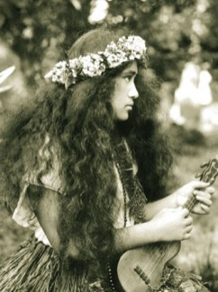 A Kohala Seminary student poses with her ukulele in this 1912 photo