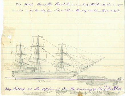 A sketch by Thomas Nickerson depicting the attack and sinking of the ship Essex-(NOAA)