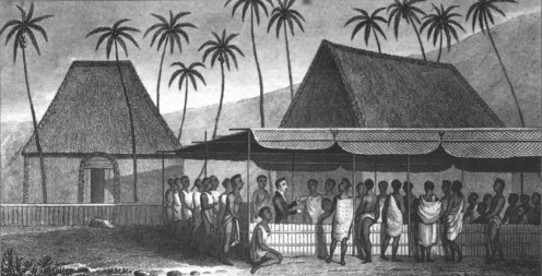 A_Missionary_Preaching_to_the_Natives,_under_a_Skreen_of_platted_Cocoa-nut_leaves_at_Kairua_by_William_Ellis-1823