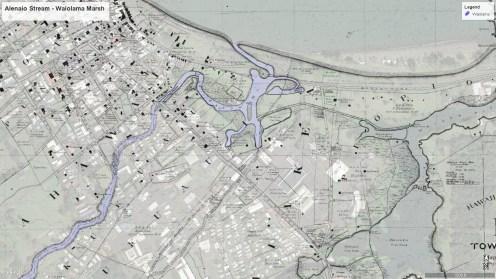 Alenaio Stream-Waiolama Marsh-1891-over Google Earth