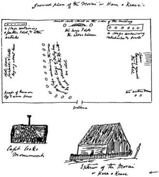 Andrew Bloxam's drawings of the exterior appearance and interior arrangement of Hale-o-Keawe