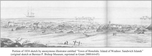 Anonymous illustrator entitled 'Town of Honolulu- Island of Woahoo-Sandwich Islands'-(Hammatt)-1834