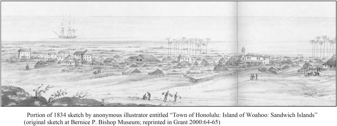 Anonymous illustrator entitled 'Town of Honolulu- Island of Woahoo-Sandwich Islands'-(Hammatt)-1834