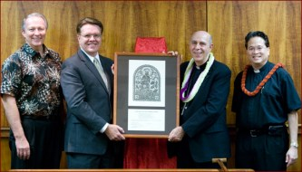 Bishop Silva presented PCC (LDS) a Certificate of Appreciation on May 7, 2010 for Napela's cooperation