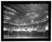 Block Arena-Interior of arena, showing roof structure over court area-LOC