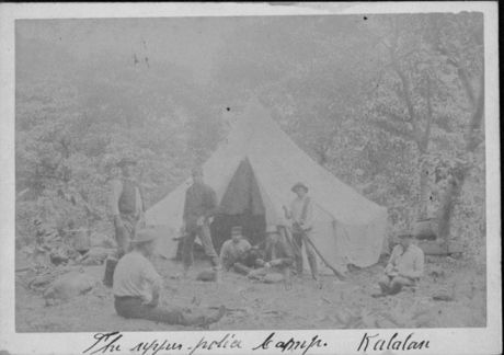Camp of National Guardsmen in hunt for Koolau and others, Kalalau Valley, Kauai-HSA-HHS