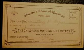 Certificate for the Children's Morning Star