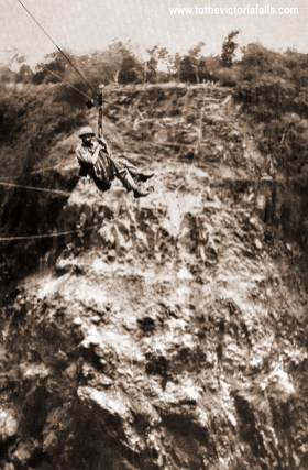Charles Beresford Fox crossing the gorge for the first time in the 'Bosun's chair', November 1903
