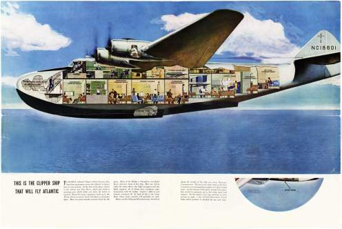 Cutaway drawing of the Boeing 314 reveals the clipper's various cabins and compartments-Smithsonian