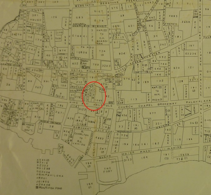 Downtown_Honolulu-Land_Commision_Awards-Map-1847-portion-Holmes Property