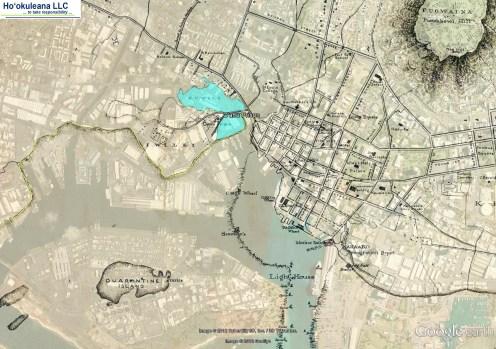 Downtown_and_Vicinity-Map-noting_Oahu_Prison-Kawa_and_Kuwili_Fishponds-and-Shoreline-1887
