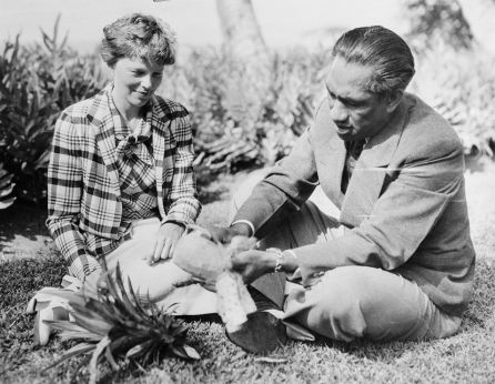 Eating pineapple with Duke Kahanamoku-January 11, 1935-NatlGeographic