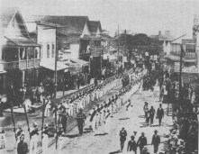 Funeral procession of Kalakaua passing along King Street between Fort and Bethel