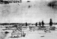 George Gibbs' illustration of Kanaka Village and stockade, 1851