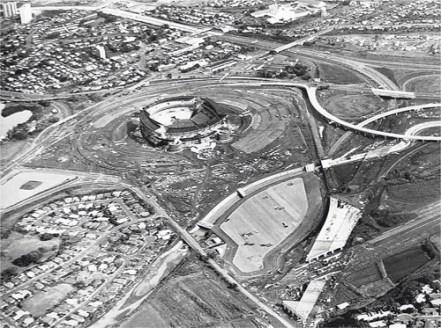 Halawa Stadium, above, under construction in 1974-(star advertiser)