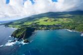Kauiki Head, Hana Bay and Hana Town, east Maui, HI